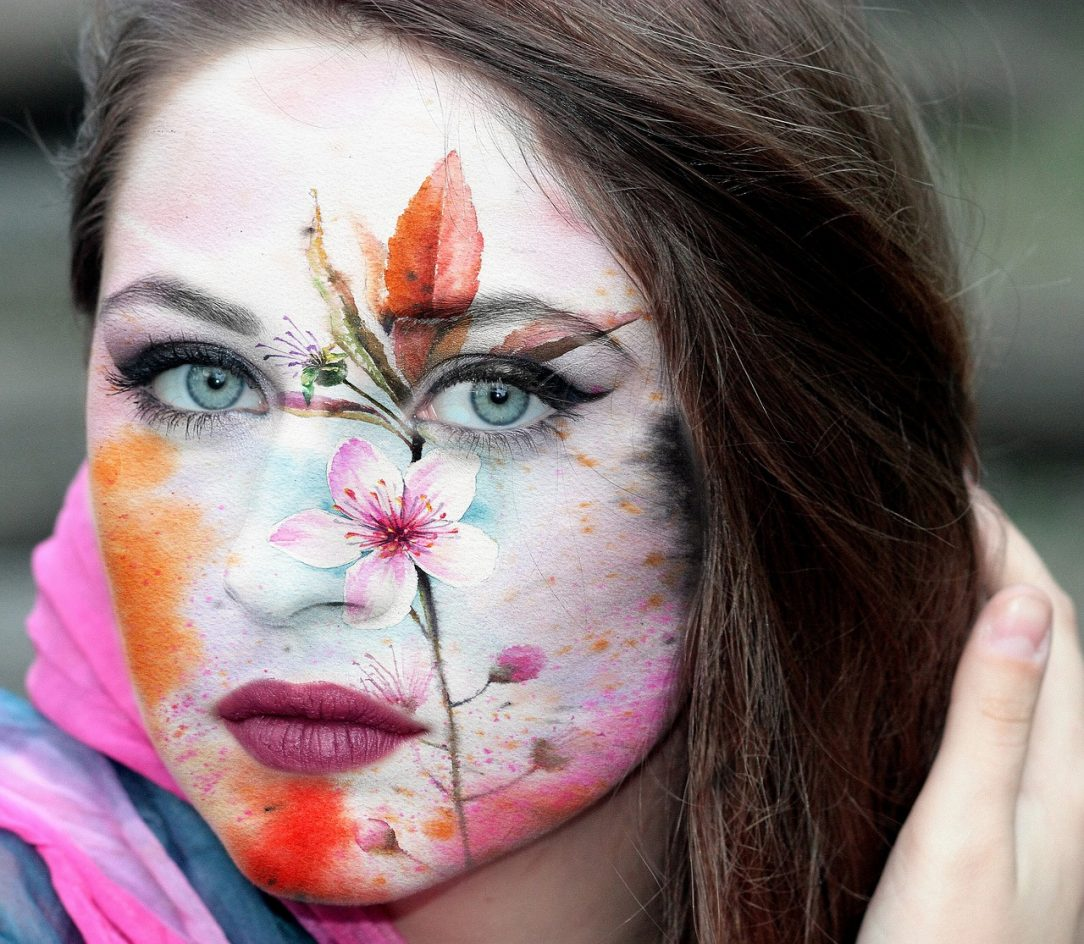 Painted woman's face