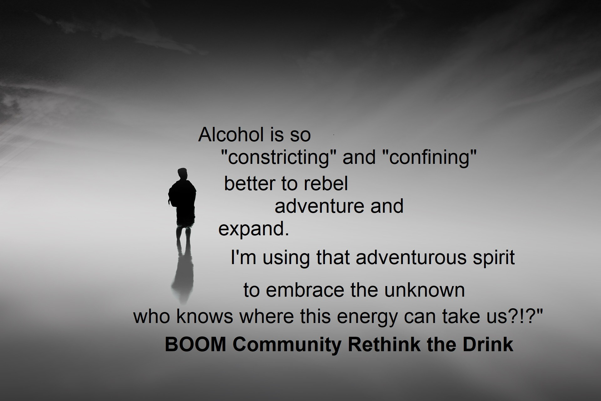 Person on gray background - join the BOOM non drinking community