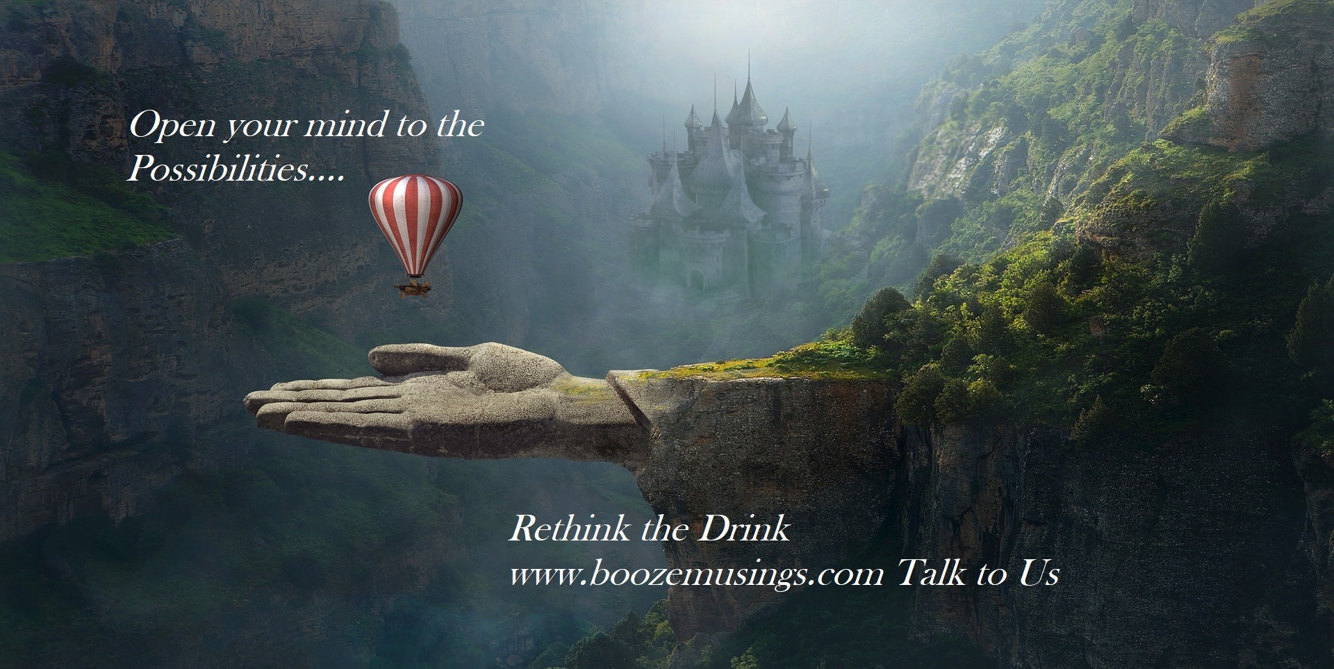 Fantasy landscape, a call to quit your booze companion and join BOOM Community Rethink the Drink
