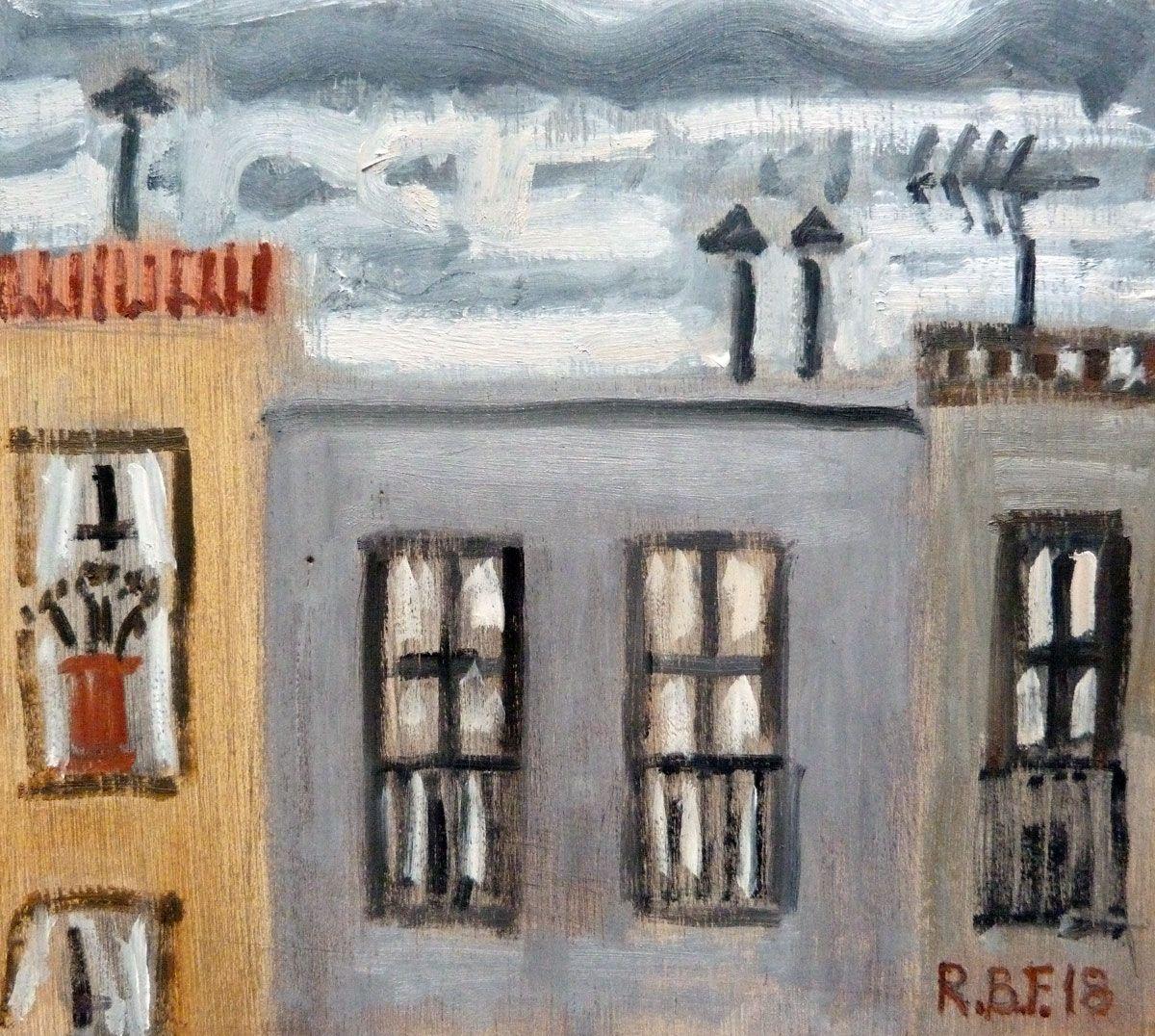 """Rooftops, Barcelona"", 02.2018, oil on wood panel, 16x15cm"