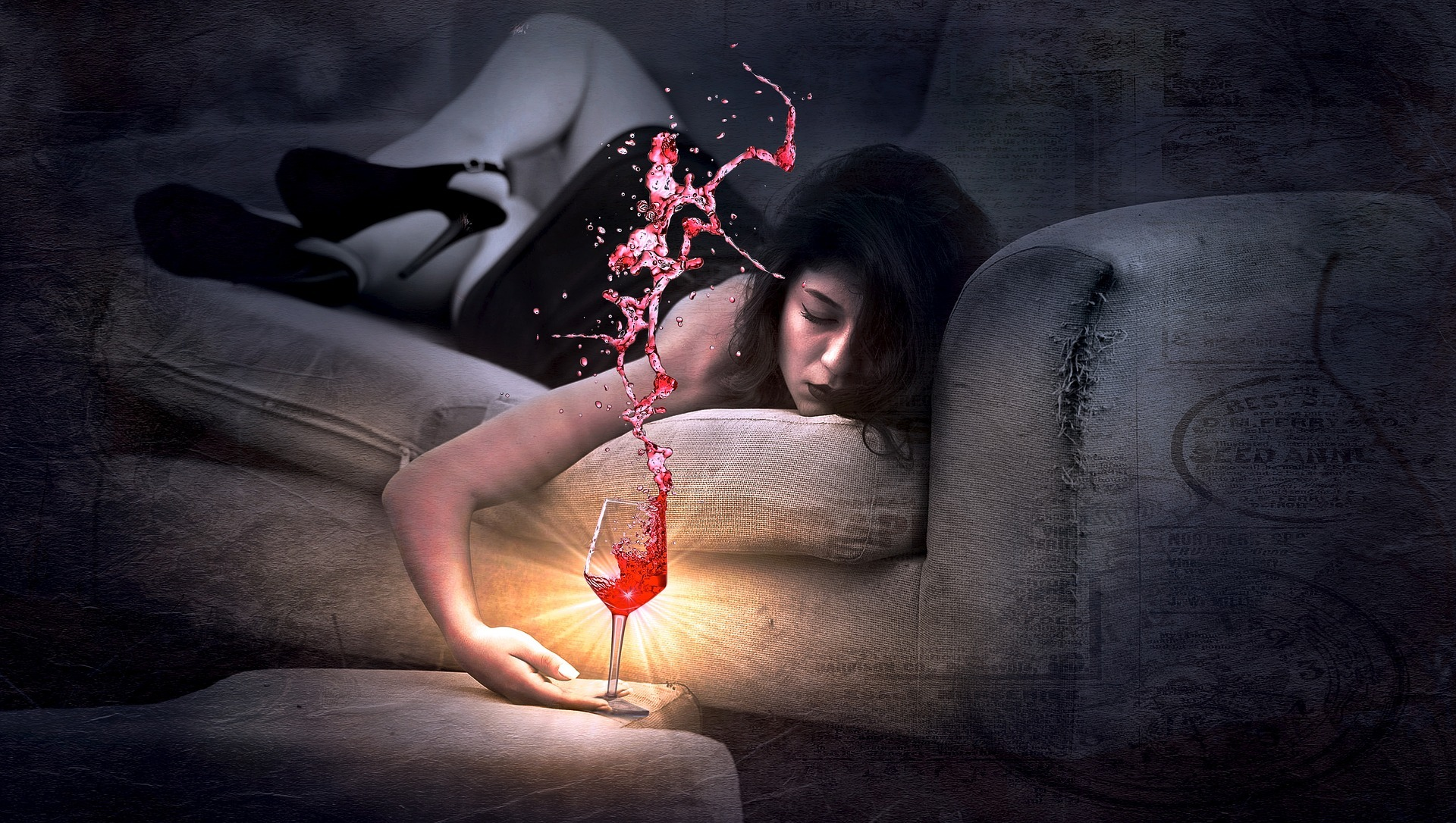 woman with wine on couch