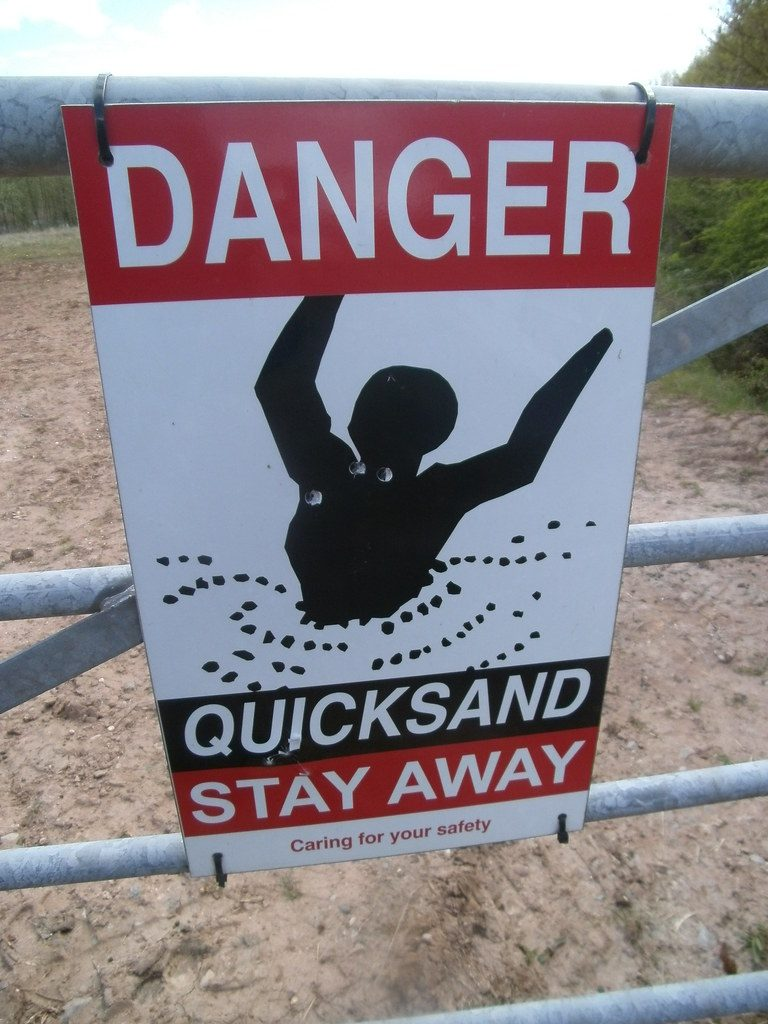 quicksand signal, related to reaching rock bottom regarding drink