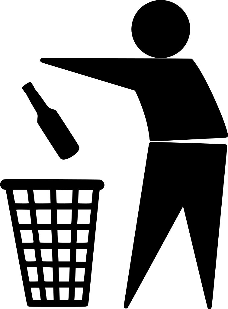 Don't Drink -Throwing Wine Bottle in Garbage