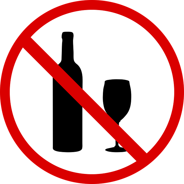 stop drinking sign with Wine Bottle and Glass