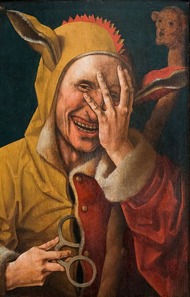 Alcohol Addiction Jester with Handcuffs Laughing at You
