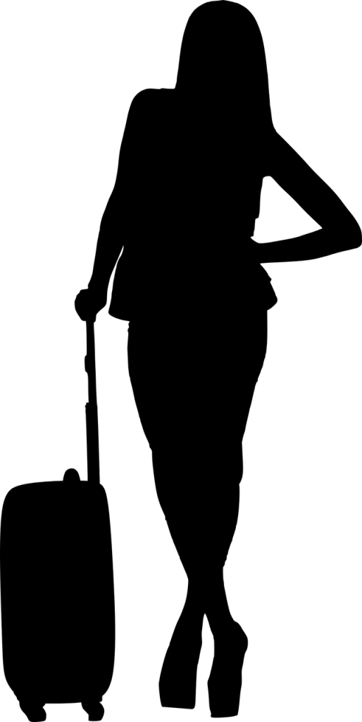 Woman with suitcase going to alcohol rehab