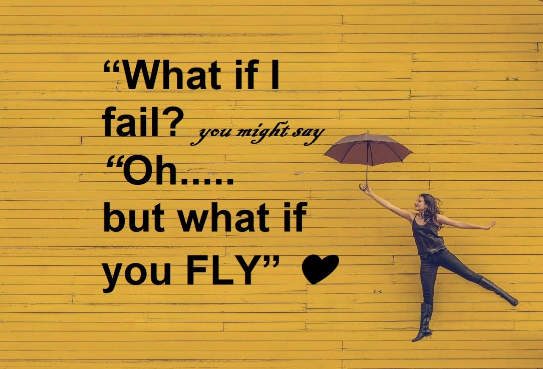 Sober Curious What if you fali But what if you fly Woman on yellow background