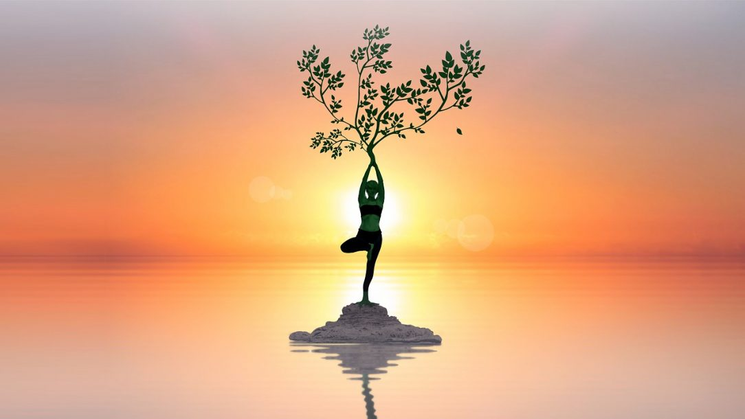 Woman with tree on earth in water Holistic healing choose to be sober