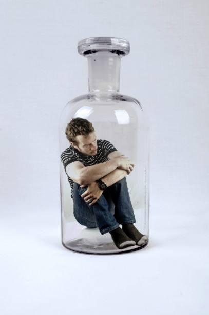 Man in bottle controlled by alcohol