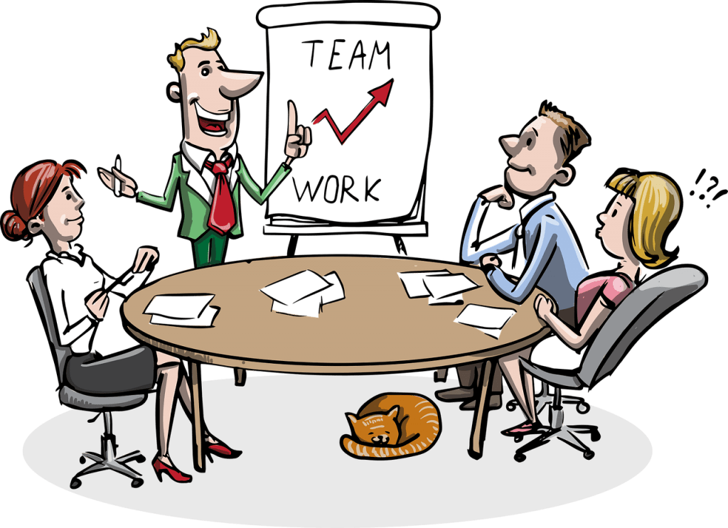 Team Work Cartoon- 100 days sober with the help of an online community
