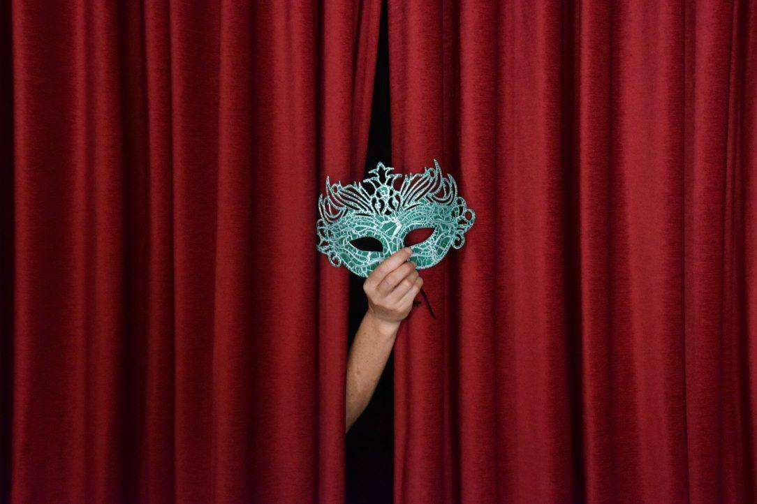 Mask in front of Stage Curtain- denial when you stop drinking