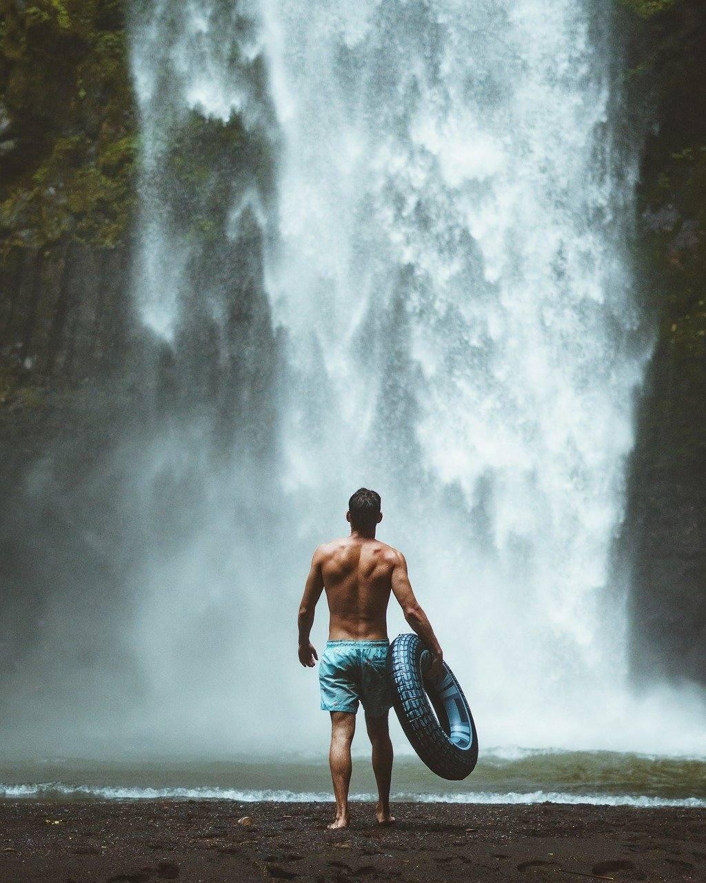 Man at Waterfall Dry July