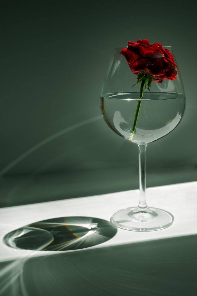 wine glass with water and rose 3 months sober alcohol-free