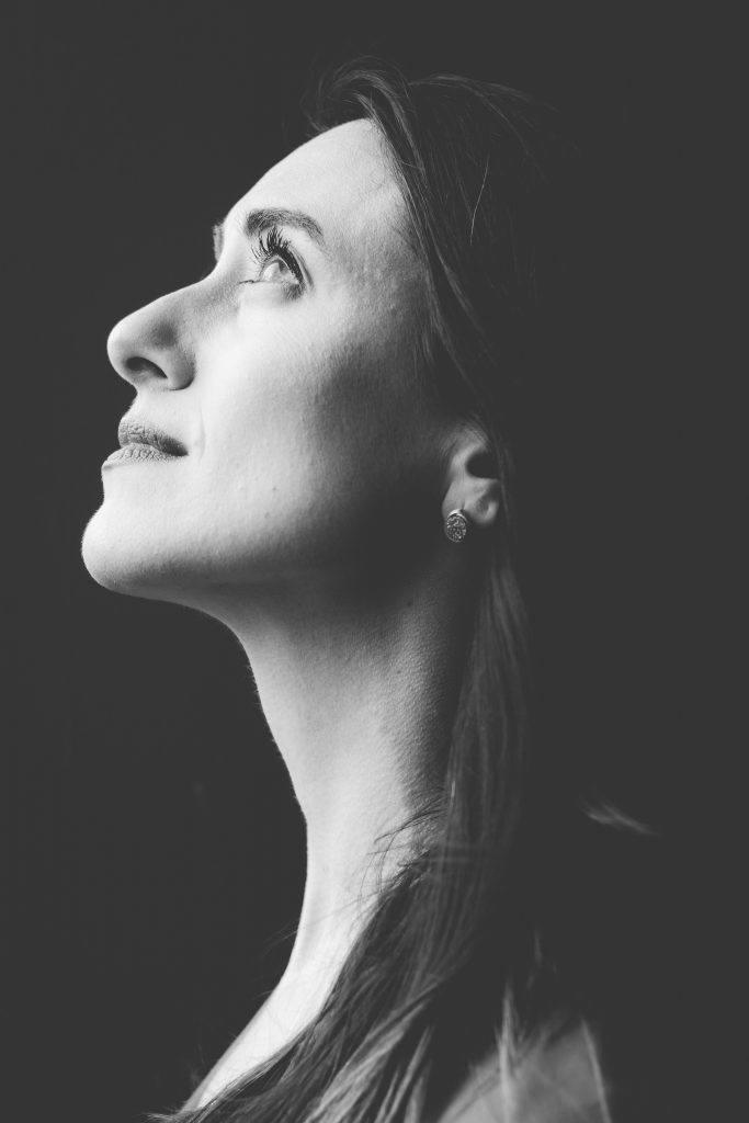 Woman looking up sober inspiration
