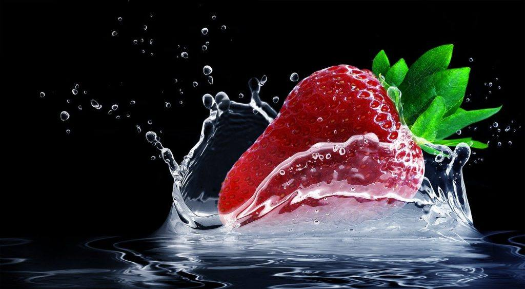 Strawberry in water Alcohol-Free Inspiration for Dry July 2020 - Day 3 Sober Treats