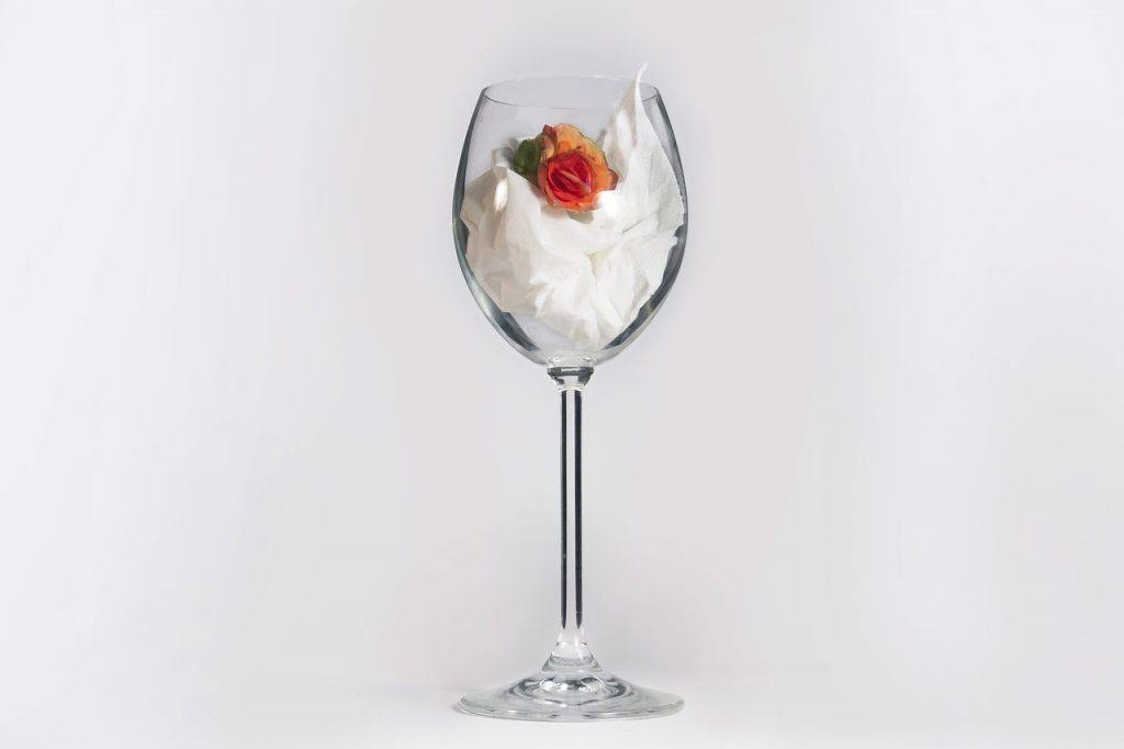 Wine glass with flower Alcohol- free zone sign How Do You Tell People You Are Not Drinking? Dry July 2020 - Day 16 Alcohol-Free Inspiration