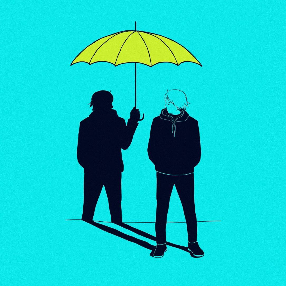 Man Holding Umbrella over Other Mans head to Represnt ending alcohol abuse