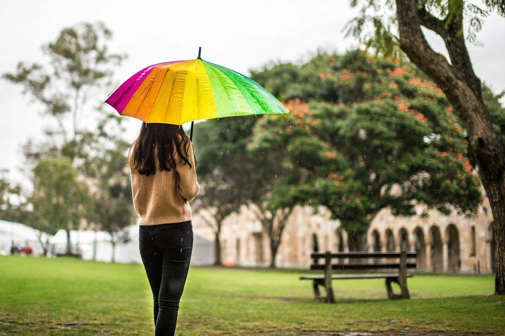 Woman under rainbow umbrella representing perspective of self discipline as self care in sobriety