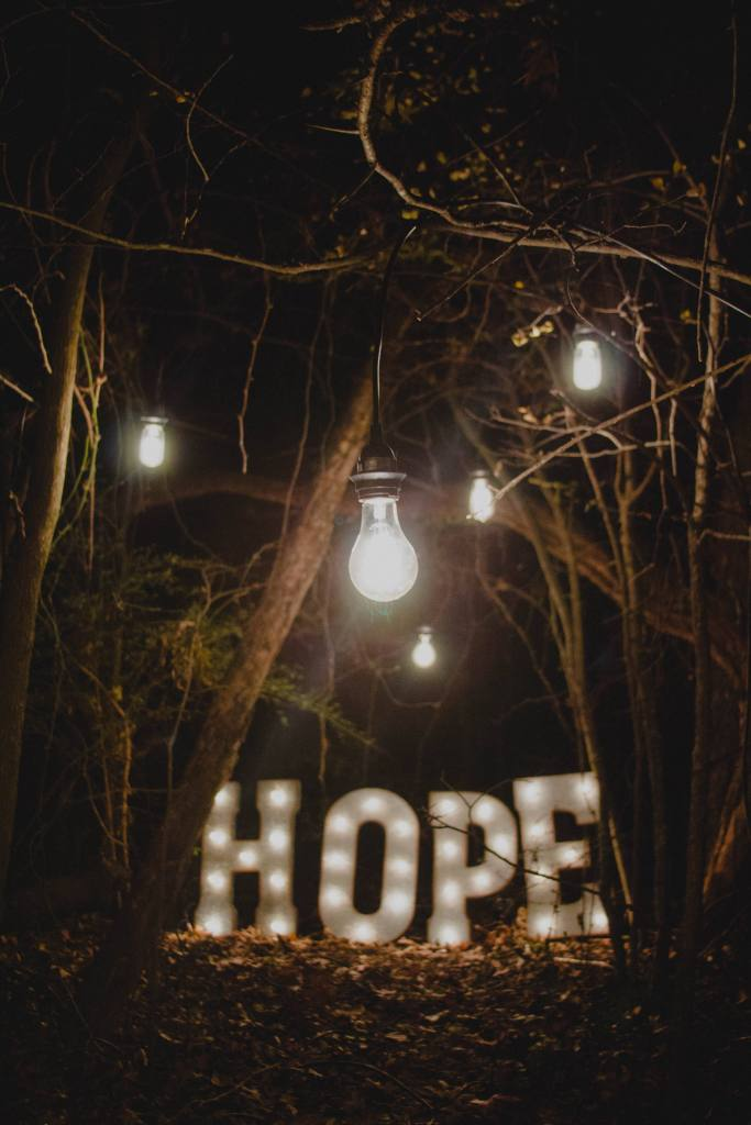 Hope sign with lights- Finding community support to go alcohol-free
