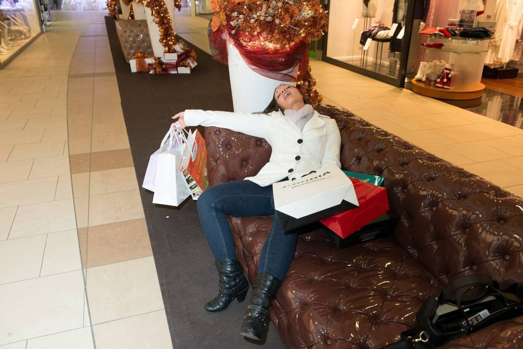 Woman exhausted from Holidat shopping