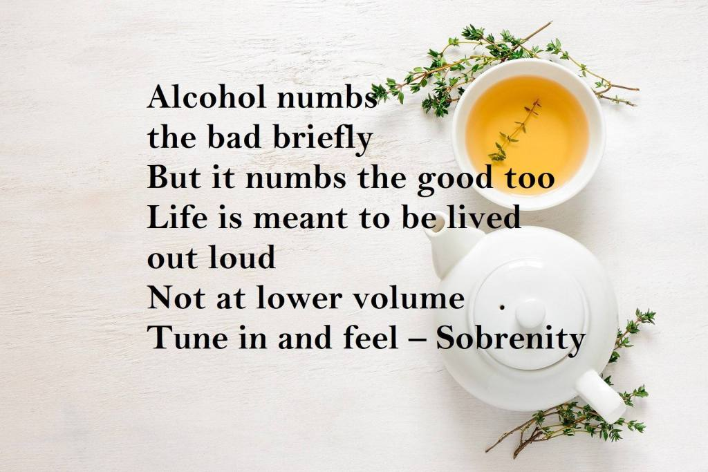Alcohol numbs the bad briefly But it numbs the good too Life is meant to be lived out loud Not at lower volume  Tune in and feel – Sobrenity Why I'm Loving Life Sober - A Dry January 2021 Inspiration Poem
