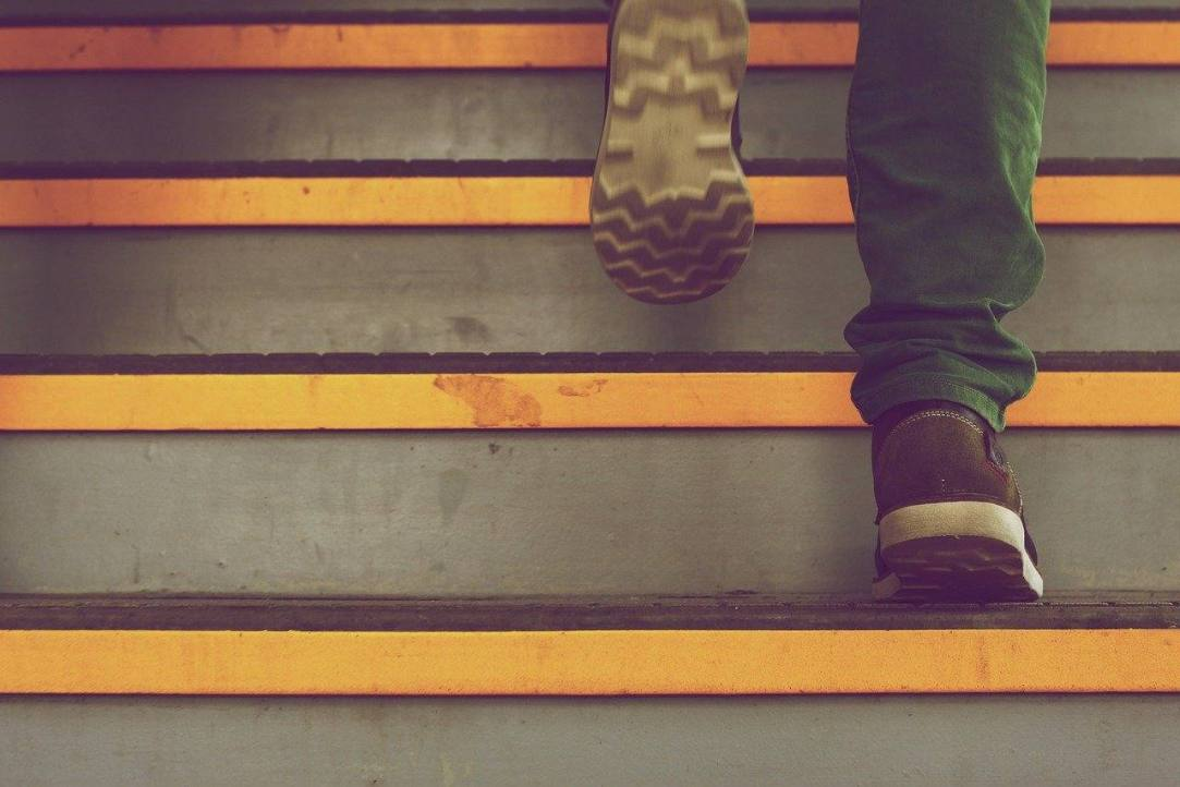 Walking up steps Sober One Day at a Time