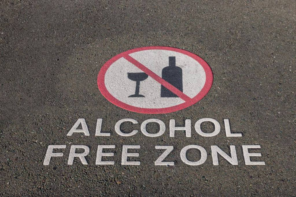 Alcohol Free Zone street sign for alcohol Awareness month Alcohol Free April