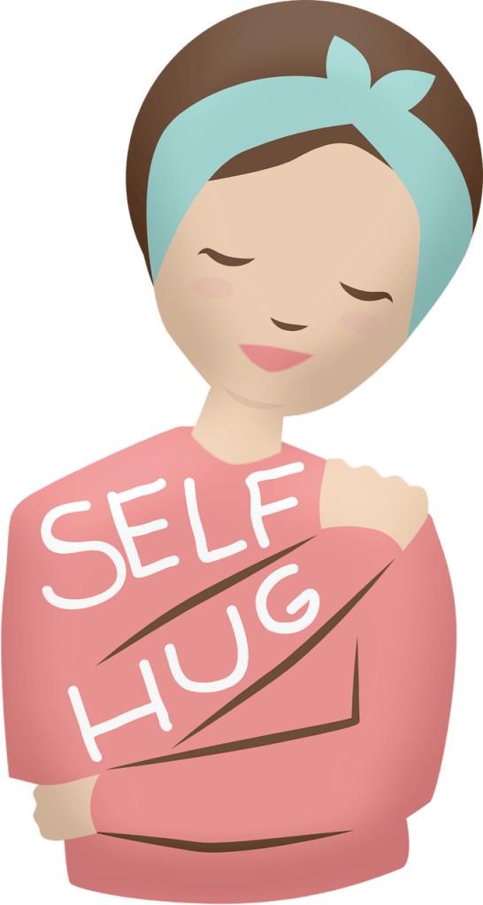 woman hugging self sobriety is self care