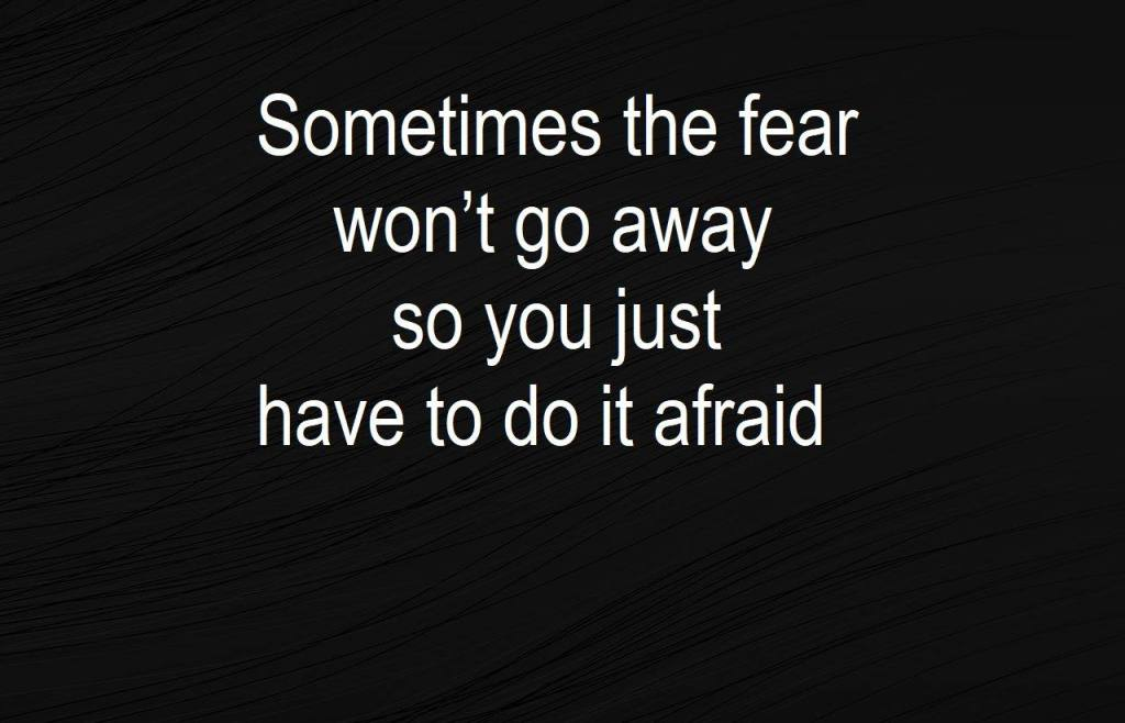 Sometimes the fear won't go away so youi just have to do it afraid - sobriety
