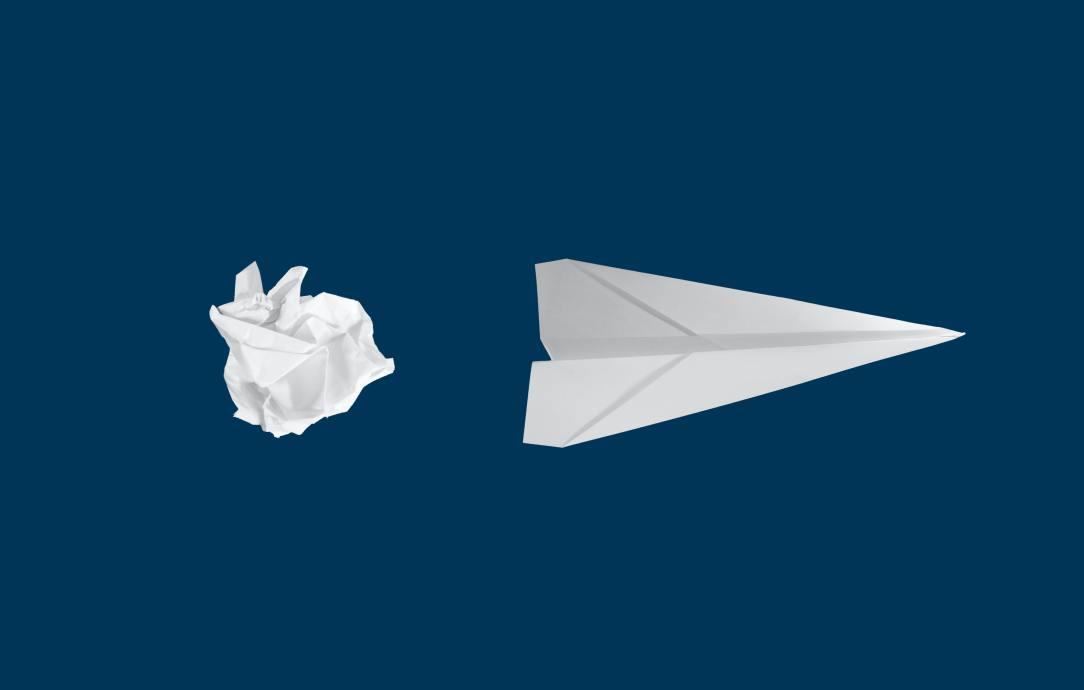 Crumpled paper to paper airplain- creating the journey alcohol-free